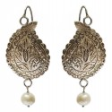 Kashmiri Sterling Silver Oxidised Paisley Earrings With Natural Pearl