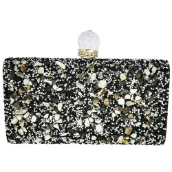 Mehrunnisa Black Rectangular Box Clutch Evening Bag For Women (BAG1544)
