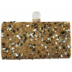 Golden Rectangular Box Clutch Evening Bag