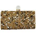 Golden Rectangular Box Clutch Evening Bag