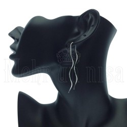 Trendy Modern Motif Silver Earrings