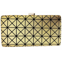 Gold Tone Box Clutch Evening Bag