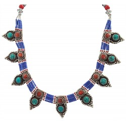 Afghani Antique Turquoise Coral Lapis Lazuli Necklace For Girls