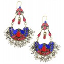 Afghani Earrings with Golden Silver Ghungroos