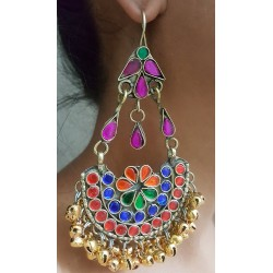 Traditional Afghani Earrings with Golden Silver Ghungroos & Colored Glass For Girls