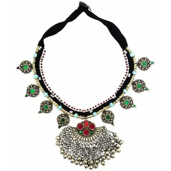Afghani Tribal Necklace with Colored Glass