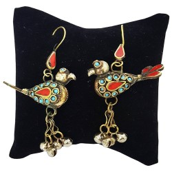 Afghani Bird Earrings With Ghungroos