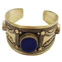 Afghani Oxidized Lapiz Lazuli Adjustable Open Cuff Bracelet
