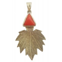 Kashmiri Sterling Silver Chinar With Coral Stone Pendant
