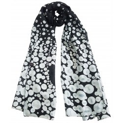 Mehrunnisa 100% Pure Silk Black & White Polka Dots Long Stole / Scarf (GAR2087)