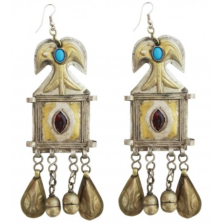 Original Afghani Tribal Vintage Long Turkmen Earrings For Girls (JWL2081)