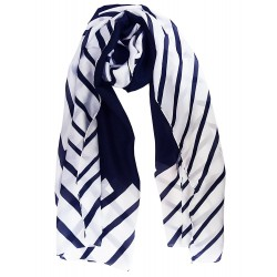 Mehrunnisa 100% Pure Silk Black & White Stripes Long Stole / Scarf (GAR1889)