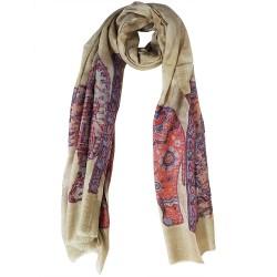 Mehrunnisa Elephant Design Pure Wool Cashmere Stole Wrap - Unisex (GAR1960)