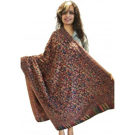 Mehrunnisa Jamawar Kani 100% Pure Wool Shawl Wrap From Kashmir (GAR2143)