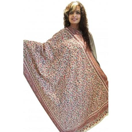 Mehrunnisa Jamawar Kani 100% Pure Wool Shawl Wrap From Kashmir (GAR2144)
