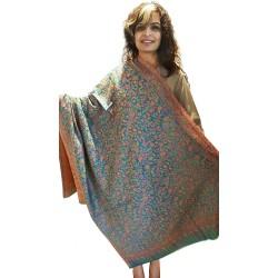 Mehrunnisa Jamawar Kani 100% Pure Wool Shawl Wrap From Kashmir (GAR2146)