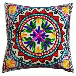 Mehrunnisa Exclusive Rajasthani Multi-Colour Thread Work Cushion Cover (HOM2019)