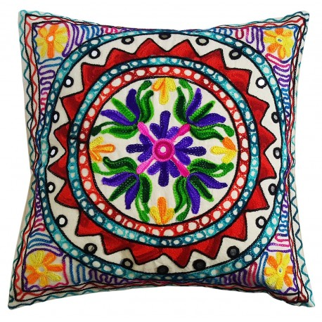 Mehrunnisa Exclusive Rajasthani Multi-Colour Thread Work Cushion Cover (HOM2025)