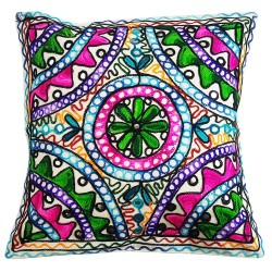 Mehrunnisa Exclusive Rajasthani Multi-Colour Thread Work Cushion Cover (HOM2022)