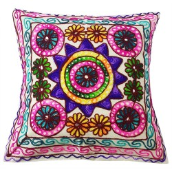 Mehrunnisa Exclusive Rajasthani Multi-Colour Thread Work Cushion Cover (HOM2023)