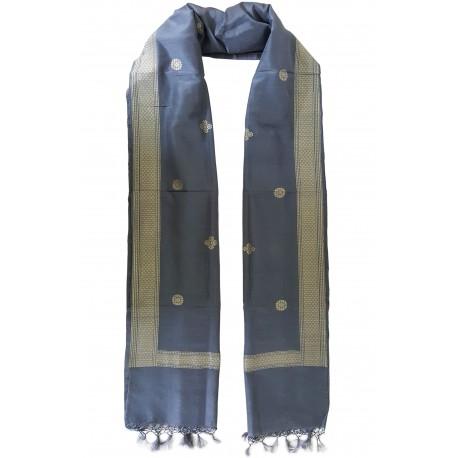 Mehrunnisa Handcrafted Banarasi Silk Cotton Stole With Zari Buti – Unisex (GAR2212)