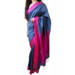 Handloom High Quality BAHA SAREES With Blouse Piece From Kolkata (Grey & Magenta)