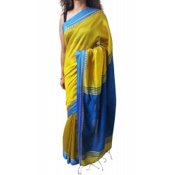 Handloom High Quality BAHA SAREES With Blouse Piece From Kolkata (Yellow & Dark Blue)