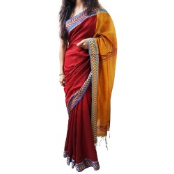 Handloom High Quality BAHA SAREES With Blouse Piece From Kolkata (Golden & Orange)