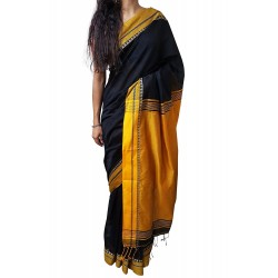 Handloom High Quality BAHA SAREES With Blouse Piece From Kolkata (Black & Mustard)