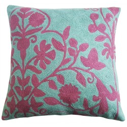 "Mehrunnisa (16""X16"") Exclusive Hand Embroidered Crewel Work Cushion Cover From Kashmir  (HOM2269)"