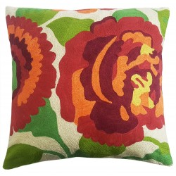 "Mehrunnisa (16""X16"") Exclusive Hand Embroidered Crewel Work Cushion Cover From Kashmir  (HOM2268)"