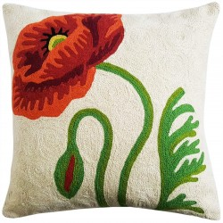 "Mehrunnisa (16""X16"") Exclusive Hand Embroidered Crewel Work Cushion Cover From Kashmir (HOM2262)"