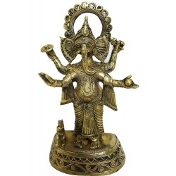 Handcrafted Dhokra Brass Chaturbhuj Ganesha Sculpture (MEH2232)