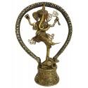 Handcrafted Dhokra Brass Natraja Ganesha Sculpture (MEH2229)