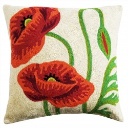 "Mehrunnisa (16""X16"") Exclusive Hand Embroidered Crewel Work Cushion Cover From Kashmir (HOM2261)"