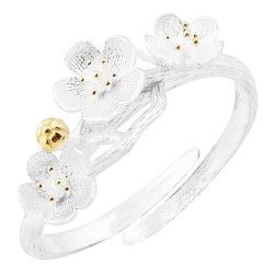 Mehrunnisa Flowers 92.5 Sterling Silver Adjustable Ring For Girls / Women (JWL2313)