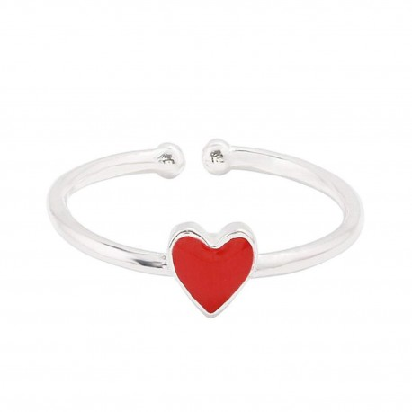 "Mehrunnisa ""Red Heart"" 92.5 Sterling Silver Adjustable Ring For Girls / Women (JWL2310)"