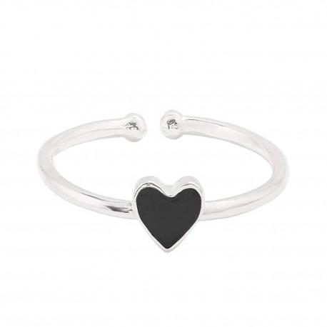 "Mehrunnisa ""BlackHeart"" 92.5 Sterling Silver Adjustable Ring For Girls / Women (JWL2311)"