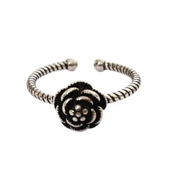 Mehrunnisa Fashion 92.5 Oxidised Sterling Silver Flower Adjustable Ring For Girls / Women (JWL1269)