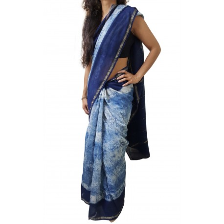 Mehrunnisa BAGRU MAHESHWARI Indigo Batik Cotton Silk Saree With Blouse Piece From Jaipur (GAR2412)
