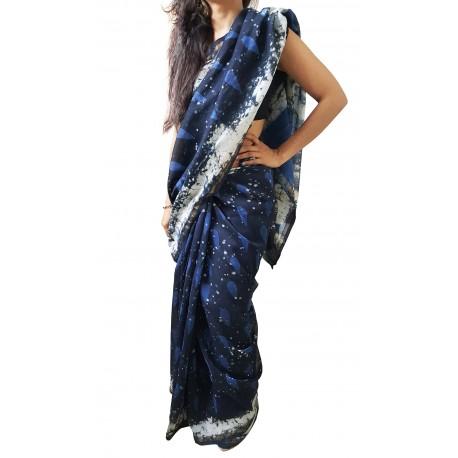 Mehrunnisa BAGRU MAHESHWARI Indigo BlackCotton Silk Saree With Blouse Piece From Jaipur (GAR2413)