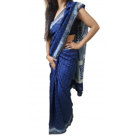 Mehrunnisa BAGRU MAHESHWARI Indigo Polka Dots Cotton Silk Saree With Blouse Piece From Jaipur (GAR2414)