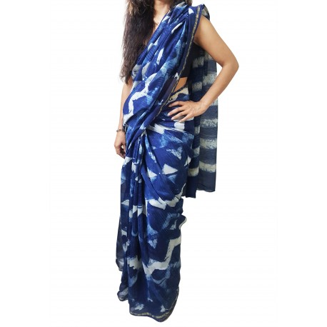 Mehrunnisa BAGRU MAHESHWARI Indigo Zig Zag Cotton Silk Saree With Blouse Piece From Jaipur (GAR2415)