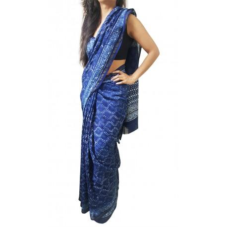 Mehrunnisa BAGRU MAHESHWARI Indigo Creeper Cotton Silk Saree With Blouse Piece From Jaipur (GAR2416)