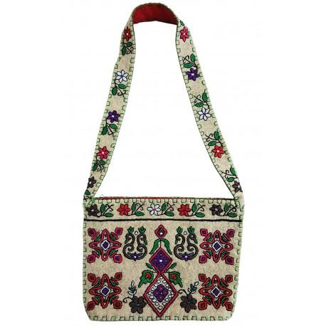 Mehrunnisa Handcrafted Cream Afghani Wool Felt Shoulder Bag (BAG2173)