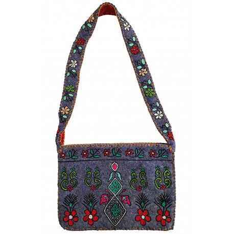 Mehrunnisa Handcrafted Purple Afghani Wool Felt Shoulder Bag (BAG2172)