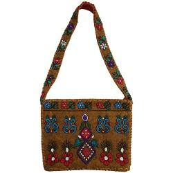 Mehrunnisa Handcrafted Mustard Afghani Wool Felt Shoulder Bag (BAG2171)