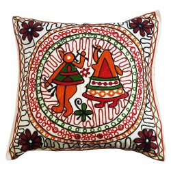 Mehrunnisa Exclusive Rajasthani Multi-Colour Thread Work Cushion Cover (HOM2031)