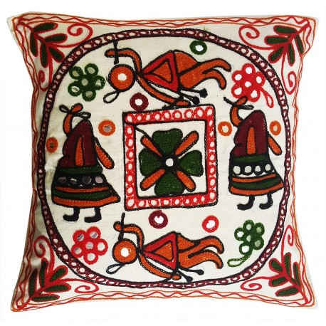 Mehrunnisa Exclusive Rajasthani Multi-Colour Thread Work Cushion Cover (HOM2029)