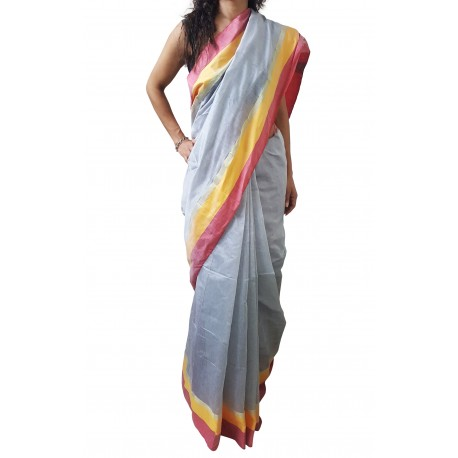 Mehrunnisa Handloom High Quality Cotton Silk SAREES With Blouse Piece From West Bengal  (Grey & Maroon)